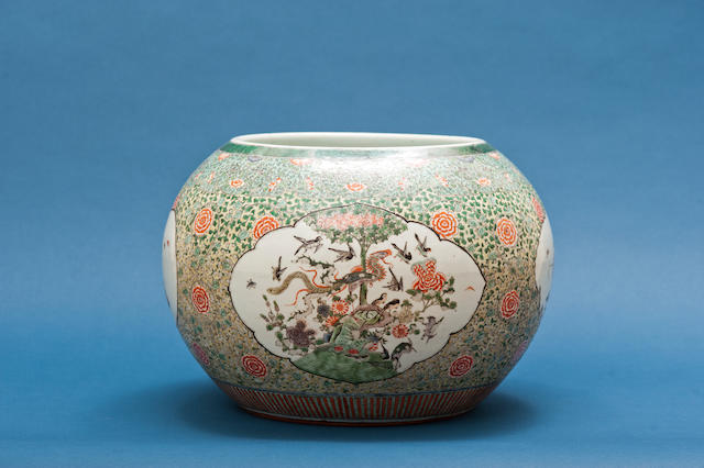 A large famille verte globular fishbowl 19th century, incised three-character mark fu jin de