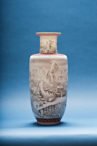 An enamelled baluster vase 20th century