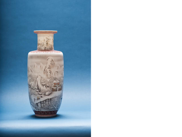 An enamelled baluster vase Cyclically dated jiaxu year (AD1934), signed and sealed He Xuren, seal mark Xuren chupin