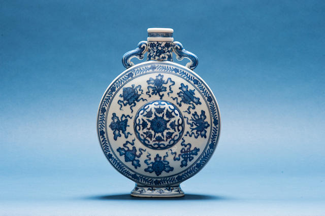 A blue and white 'bajixiang' moonflask Qianlong seal mark, 19th century