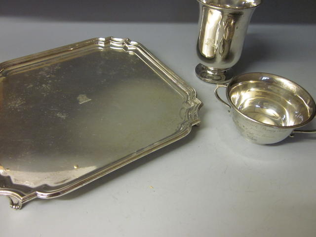 A square silver salver,  by William Hutton and Sons Ltd,  Sheffield 1933  (3)