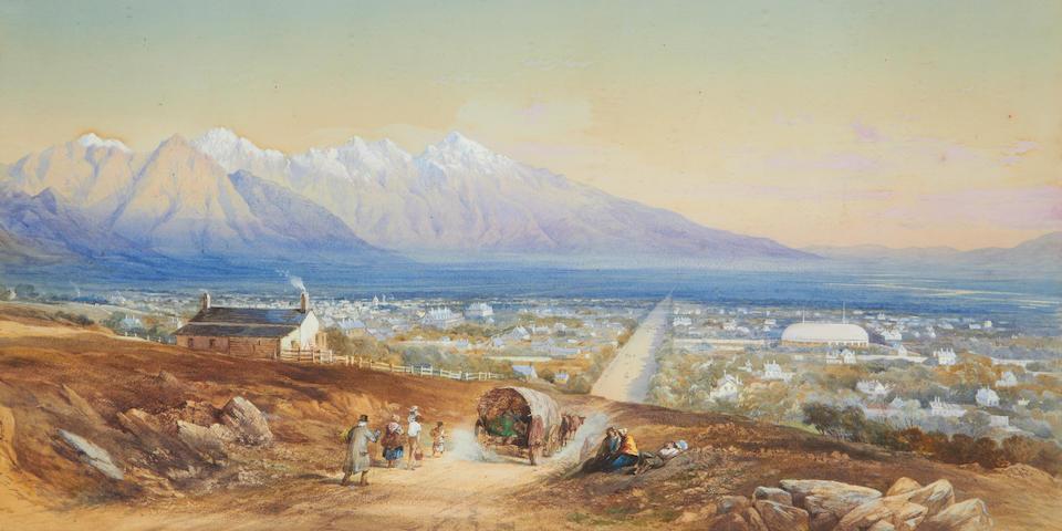 General Walter Fane (British, 1828-1885) View of Salt lake City