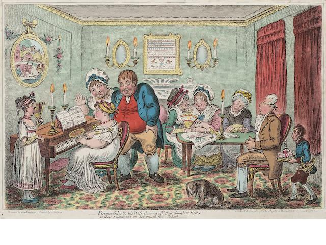 James Gillray (British, 1757-1815) Farmer Giles and his wife shewing off their daughter Betty Etching with hand colouring, 1809, on wove, laid onto light blue album paper, published January 1st by H.Humphrey, 314 x 470mm (12 3/8 x 18 1/4in)(SH)