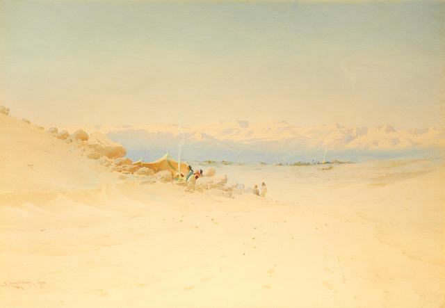 Augustus Lamplough, The Desert Camp, watercolour