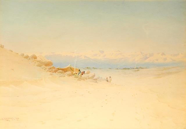 Augustus Lamplough, The Desert Camp, watercolour