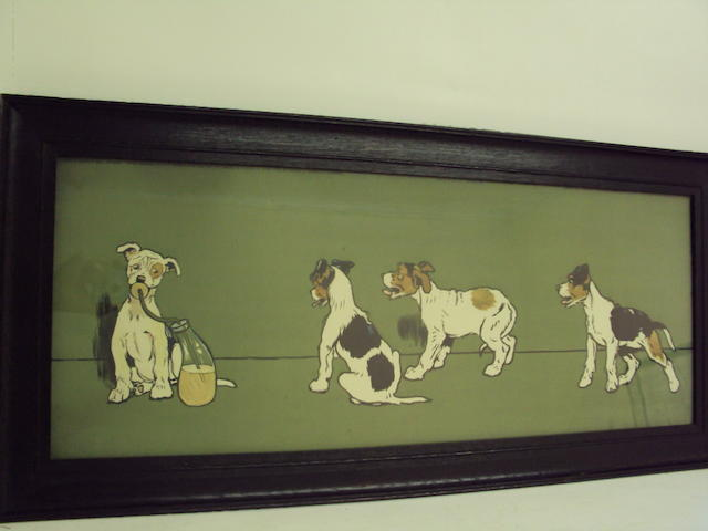 A coloured print of puppies after Cecil Aldin