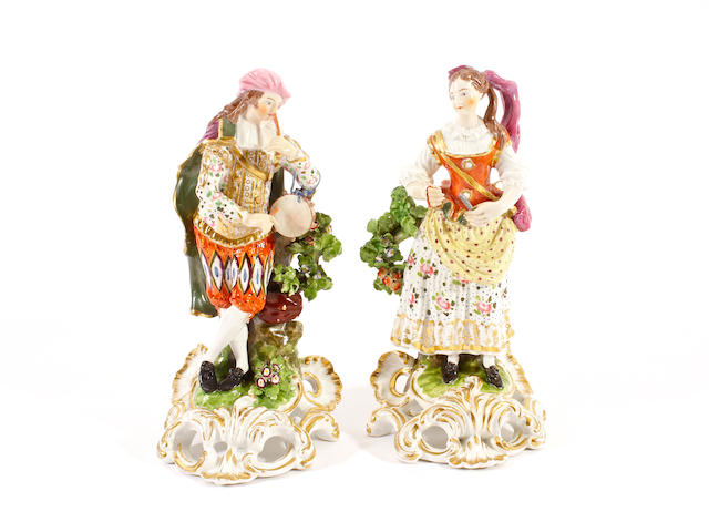 A pair of Bloor Derby figures of musicians, circa 1825 circa 1825