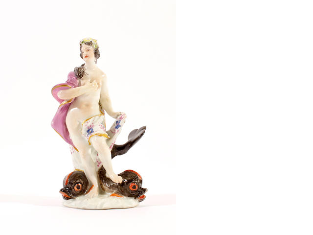 A Meissen figure of a classical figure and dolphin, circa 1750