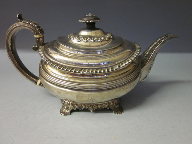 A Georgian silver teapot, by Emes and Barnard,  London 1823, marks worn,