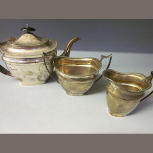 A three piece silver tea service, by E Viner,  Sheffield 1934,   (3)