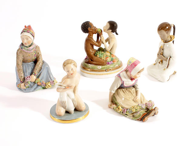 Five Royal Copenhagen figures, 20th century