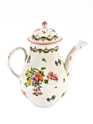 A Champion, Bristol coffee pot and cover, circa 1773-76
