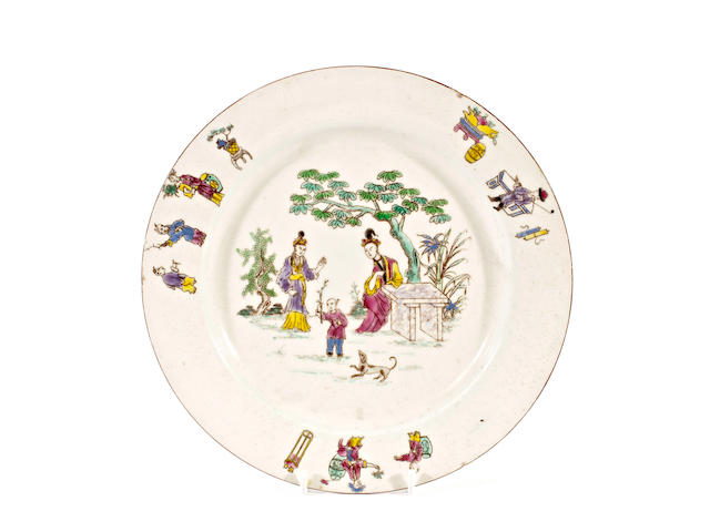 An English porcelain plate, circa 1760-70
