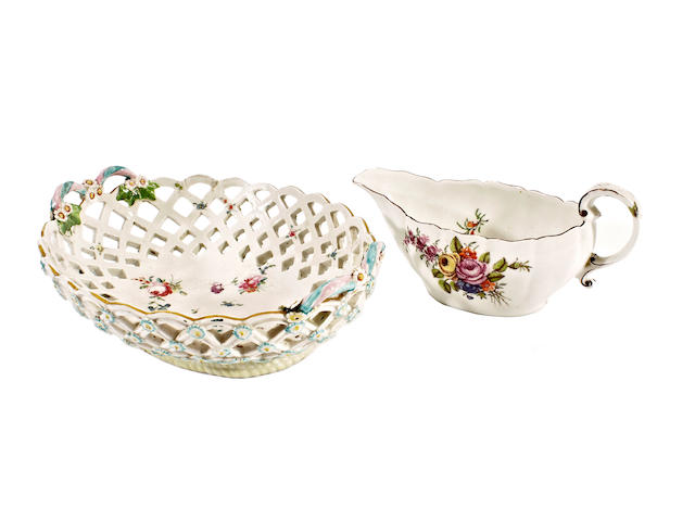 A Chelsea sauceboat and a Chelsea Derby basket, circa 1758-60 and 1780-90