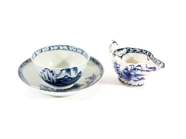 A Chaffers teabowl and saucer and a Bow creamboat, circa 1760-65