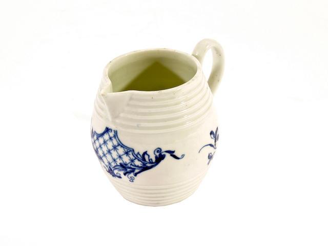 A Worcester barrel cream jug, circa 1760-70