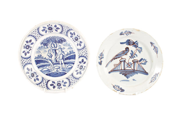 A London delft pancake plate, circa 1760 and a Dutch Delft Adam and Eve plate
