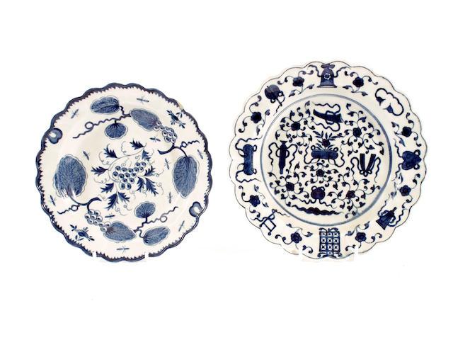 Two Worcester dessert plates, circa 1770-80