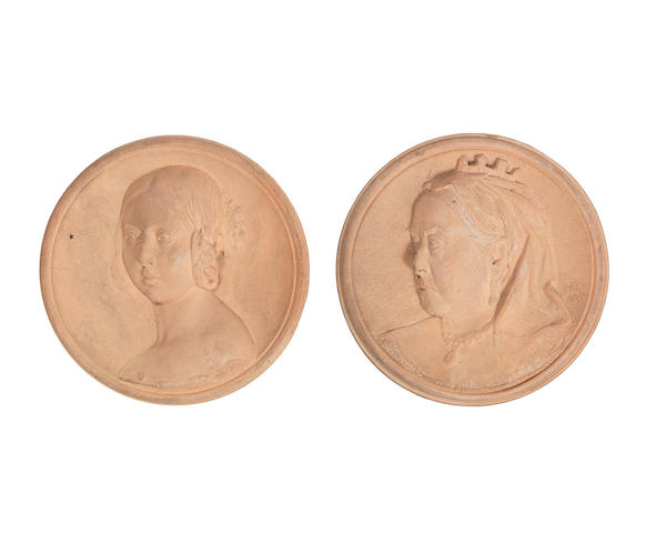 Martin Brothers an Unusual Pair of Plaques Depicting Queen Victoria, 1899