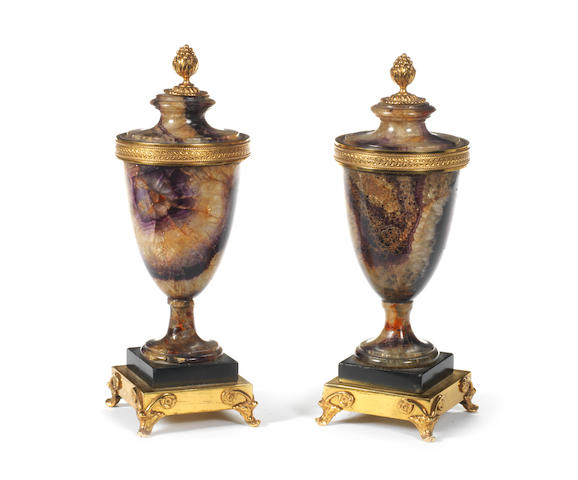 A pair of Blue John and ormolu mounted urns late 18th/early 19th century