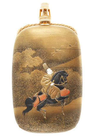 A Shibayama-inlaid gold lacquer four-case inro By Shokasai and Shibayama, late 19th century