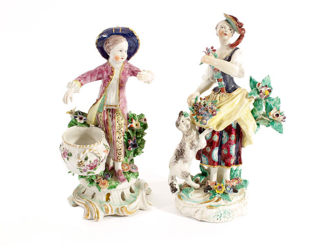 A Bow figure of a lady and another of a boy, circa 1760-65,