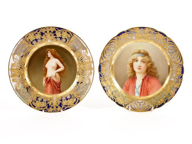 Two Vienna style plates, circa 1900