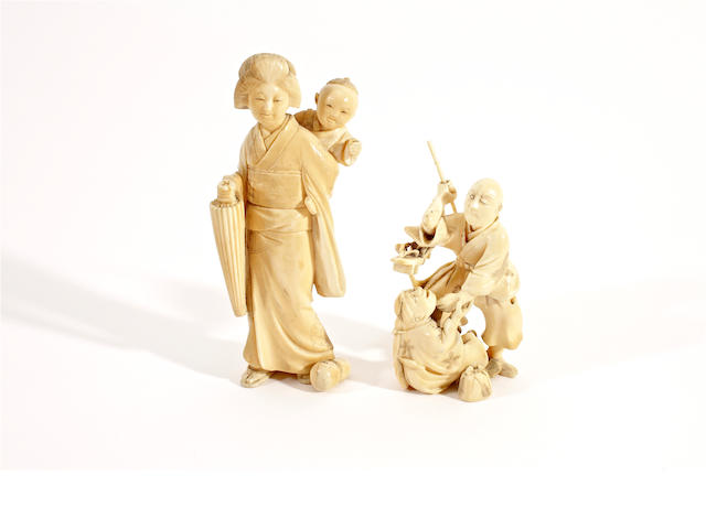Two Japanese ivory okimonos, Meiji period
