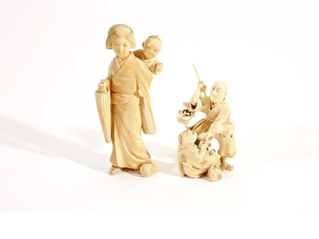 Two Japanese ivory okimonos, Meiji period