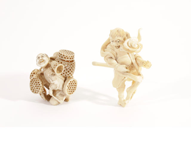 A Japanese carved ivory okimono of a basket vendor and another of a cloud God, Meiji period