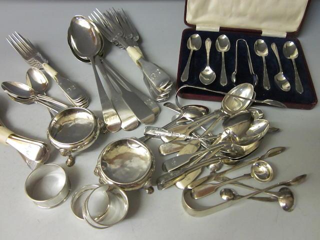 A set of six Victorian silver fiddle pattern dessert forks,  by Elizabeth Eaton,  London 1854,   (Qty)