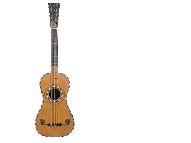 A ten string French guitar by J.N. Lambert, Paris, circa 1775 (2)