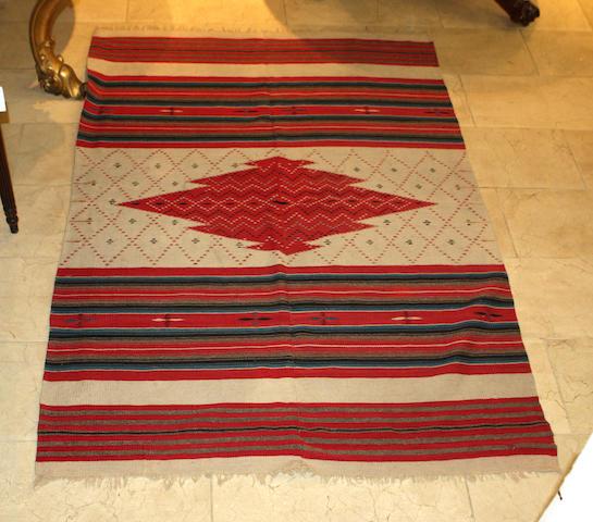 A Mexican flat-woven Serape rug 130cm x 183cm
