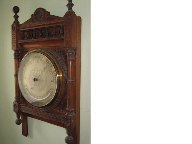 A late 19th century mahogany framed barometer.