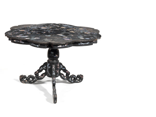 An inlaid lacquer centre table Nagasaki style, Meiji Period