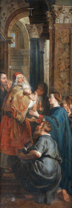 After Sir Peter Paul Rubens, 19th Century  The Presentation in the Temple; The Deposition; The Visitation central panel: 144.5 x 106cm (56 7/8 x 41 3/4in), wings: 144.5 x 53.8cm (56 7/8 x 21 3/16in) and 144.5 x 53cm (56 7/8 x 20 7/8in)  (3).