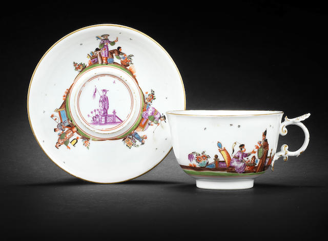 A Meissen cup and saucer, circa 1740