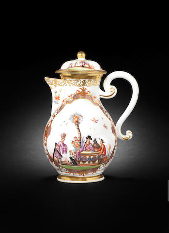 A Meissen coffee pot and cover, circa 1735