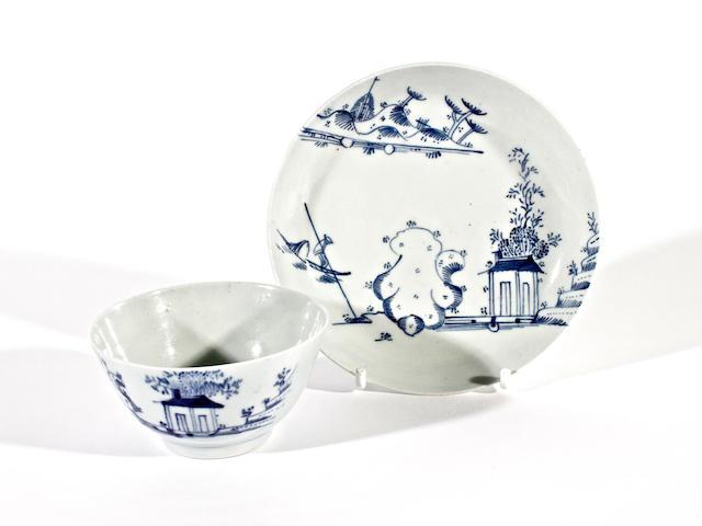 A Chaffers teabowl and a saucer, circa 1758-62
