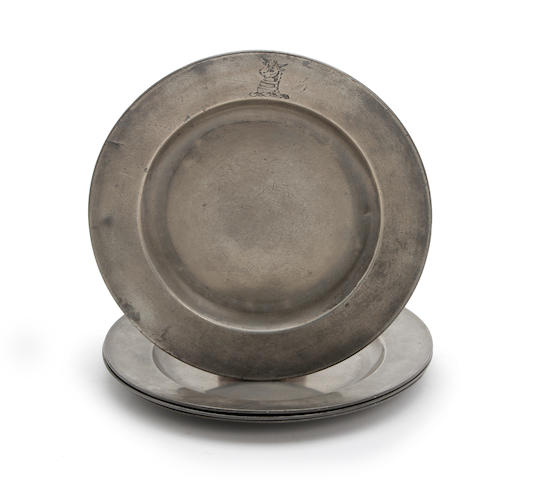 A pair of 18th century pewter plain rim plates
