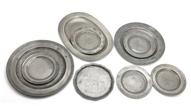 A miscellaneous collection of pewter plates, mostly 18th century