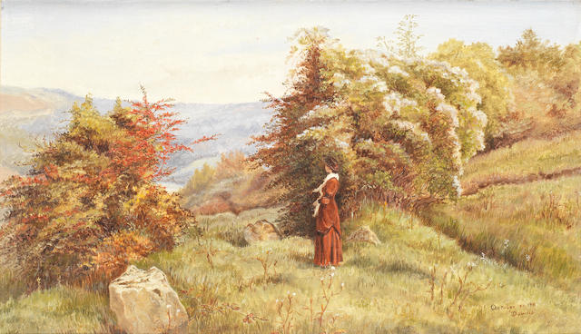 Linnie Watt  'October on the Downs' an Oil on Canvas, circa 1880