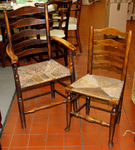 A matched set of five 19th Century ash ladderback chairs,