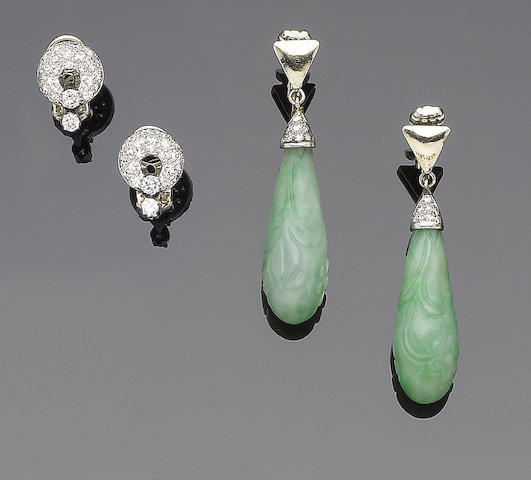 A pair of jade and diamond earclips