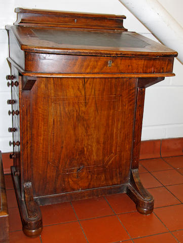 A late Victorian inlaid walnut davenport