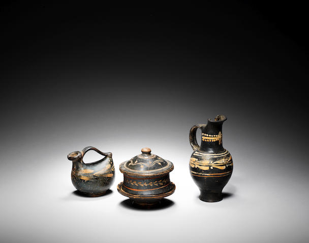 Three Greek black glazed vessels 3