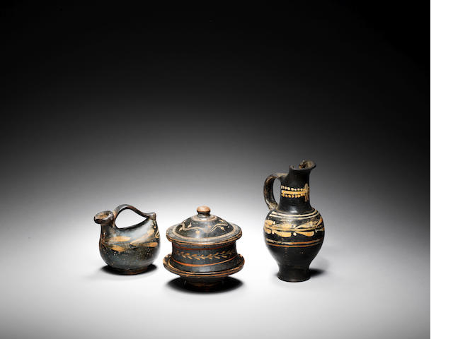 Three Greek black glazed vessels