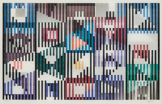 Yaacov Agam (Israeli/French, born 1928) Composition cinétique 25.7 x 40cm (10 1/8 x 15 3/4in) sheet size
