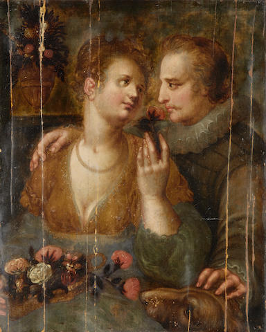 Attributed to Hendrik Goltzius (Venlo 1558-1617 Haarlem) Courting scene