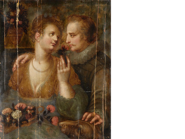 Attributed to Hendrik Goltzius (Venlo 1558-1617 Haarlem) Courting scene unframed